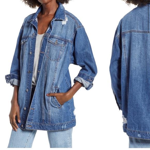 c5cebb7d6dc bp Jackets & Coats | Distressed Longline Oversized Denim Jacket ...